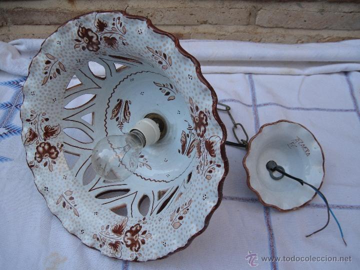 Antigüedades: LAMPARA EN CERAMICA VIDRIADA, DE TALAVERA DE LA REINA (TOLEDO ) FUNCIONANDO. - Foto 6 - 40067322