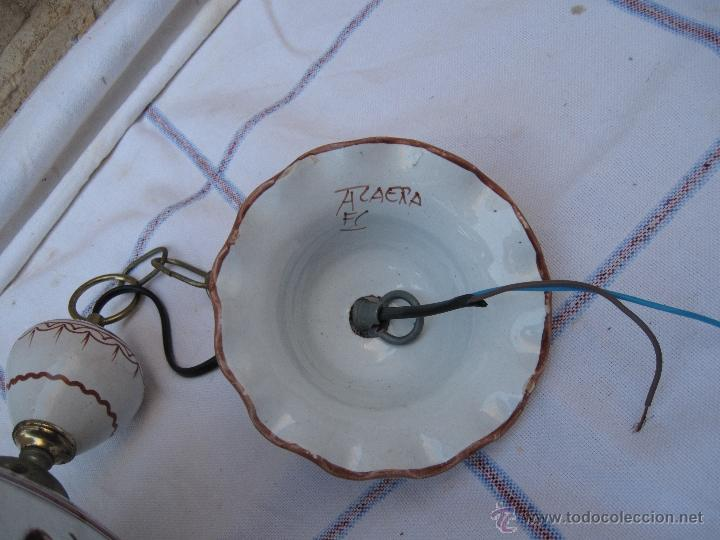 Antigüedades: LAMPARA EN CERAMICA VIDRIADA, DE TALAVERA DE LA REINA (TOLEDO ) FUNCIONANDO. - Foto 7 - 40067322