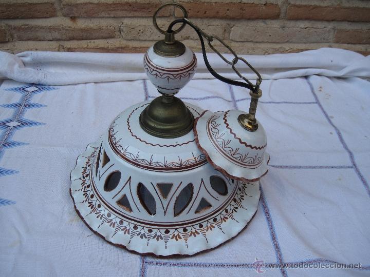 Antigüedades: LAMPARA EN CERAMICA VIDRIADA, DE TALAVERA DE LA REINA (TOLEDO ) FUNCIONANDO. - Foto 8 - 40067322