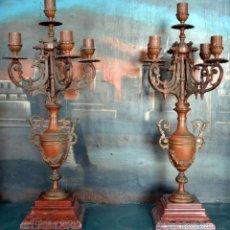 Antigüedades: PAREJA DE CANDELABROS IMPERIO. S. XIX. Lote 40068932
