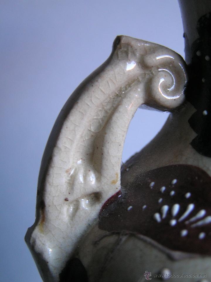 Antigüedades: JARRÓN SATSUMA DECORADO A MANO CON BASE DE MADERA TALLADA. AÑOS 30. - Foto 15 - 40070968