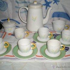 Antigüedades: PRECIOSO JUEGO DE CAFE EN CERAMICA VIDRIADA QUADRIFOGLIO MADE IN ITALI 14 PIEZAS. Lote 40071853