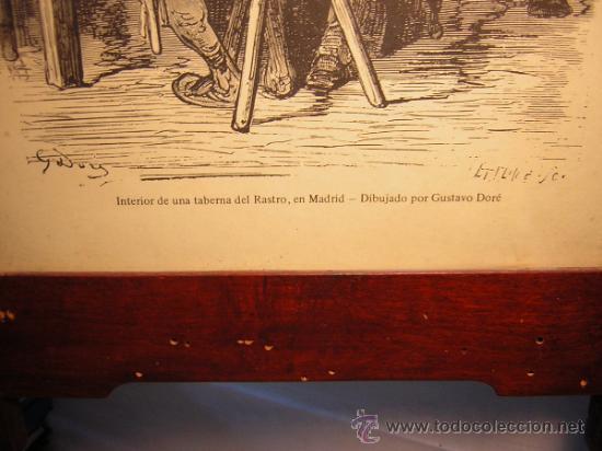 Antigüedades: ANTIGUO MARCO MODERNISTA CON MARQUETERIA Y NACAR - LAMINA RASTRO DE MADRID GUSTAVO DORE 32X48 - Foto 3 - 40079786