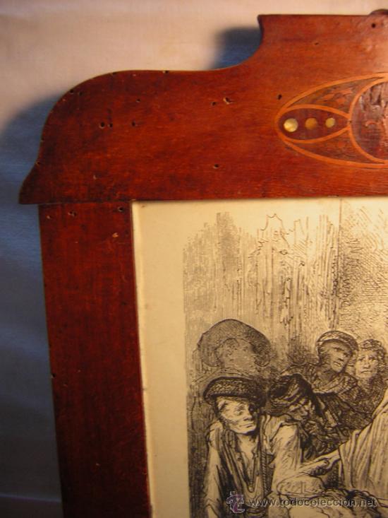 Antigüedades: ANTIGUO MARCO MODERNISTA CON MARQUETERIA Y NACAR - LAMINA RASTRO DE MADRID GUSTAVO DORE 32X48 - Foto 4 - 40079786