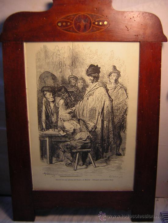 Antigüedades: ANTIGUO MARCO MODERNISTA CON MARQUETERIA Y NACAR - LAMINA RASTRO DE MADRID GUSTAVO DORE 32X48 - Foto 5 - 40079786