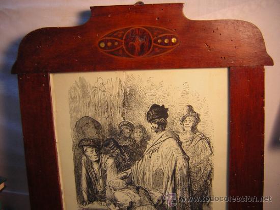 Antigüedades: ANTIGUO MARCO MODERNISTA CON MARQUETERIA Y NACAR - LAMINA RASTRO DE MADRID GUSTAVO DORE 32X48 - Foto 6 - 40079786