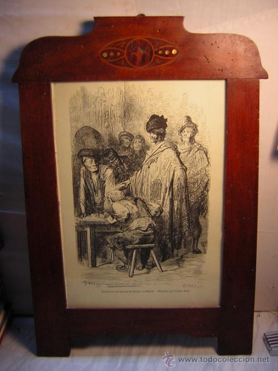 Antigüedades: ANTIGUO MARCO MODERNISTA CON MARQUETERIA Y NACAR - LAMINA RASTRO DE MADRID GUSTAVO DORE 32X48 - Foto 9 - 40079786
