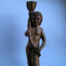 Antigüedades: TALLA DE MADERA ANTIGUA. EFEBO PORTANDO CORNUCOPIA. PINO. 40,5 CM.. Lote 40083125