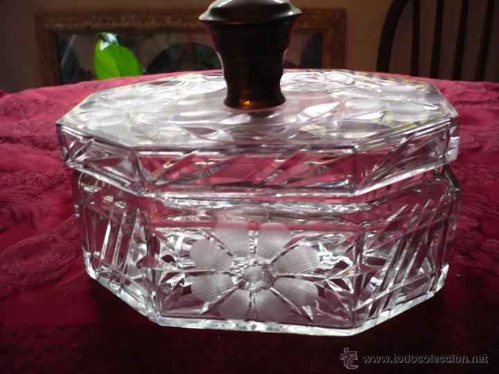 Antigüedades: Bombonera de cristal tallado con pomo de plata - Foto 4 - 40088028