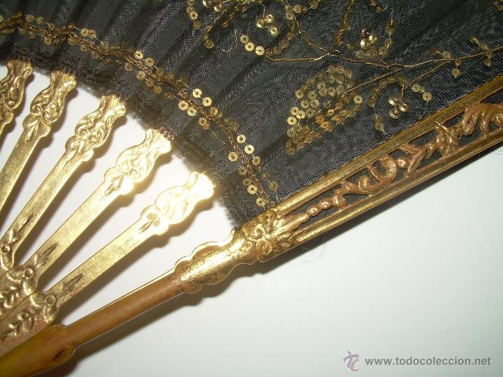 Antigüedades: PRECIOSO ABANICO DE MADERA.... PAM DE ORO Y LENTEJUELAS...SIGLO XIX. - Foto 3 - 40116811