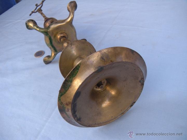Antigüedades: ANTIGUA LÁMPARA DE ACEITE CANDIL VELÓN DE LUCENA DE BRONCE - Foto 5 - 40118293