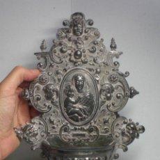 Antigüedades: PRECIOSA BENDITERA ANTIGUA. FINALES DEL S.XIX. VIRGEN CON NIÑO. QUERUBINES. MUY TRABAJADA.. Lote 40128304