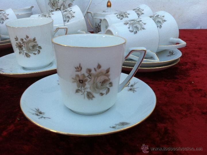 Antigüedades: JUEGO ANTIGUO DE CAFE EN PORCELANA DE BAVARIA SELLADO ESCHENBACH - Foto 3 - 40150178