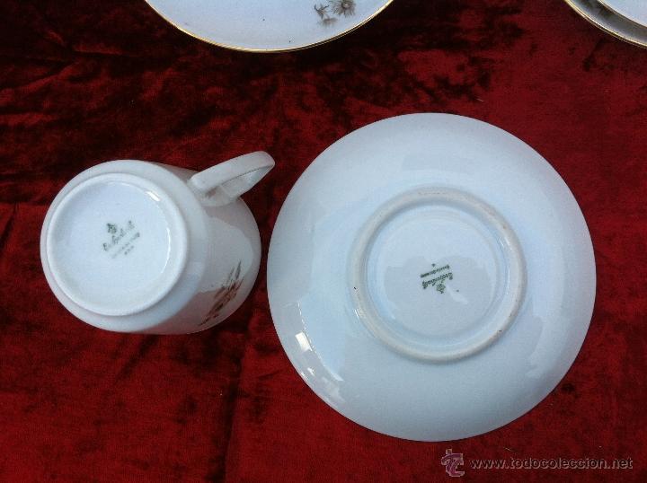 Antigüedades: JUEGO ANTIGUO DE CAFE EN PORCELANA DE BAVARIA SELLADO ESCHENBACH - Foto 7 - 40150178