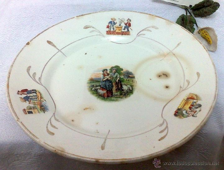 Antigüedades: SIGLO XIX-XX.- SAN CLAUDIO.- OVIEDO.- INTERESANTE PLATO EN PORCELANA. - Foto 2 - 37733911