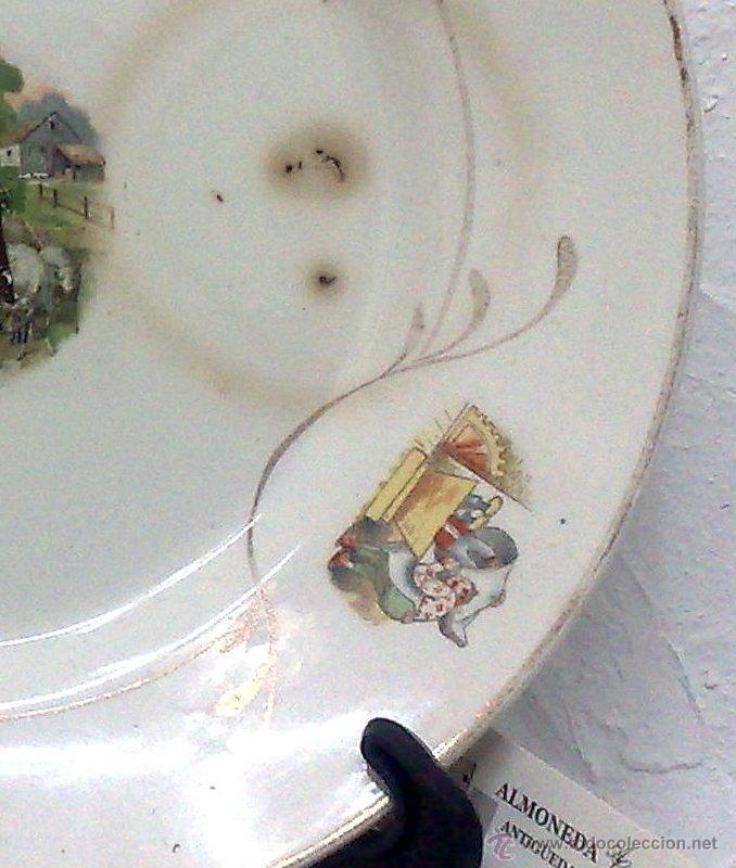 Antigüedades: SIGLO XIX-XX.- SAN CLAUDIO.- OVIEDO.- INTERESANTE PLATO EN PORCELANA. - Foto 6 - 37733911