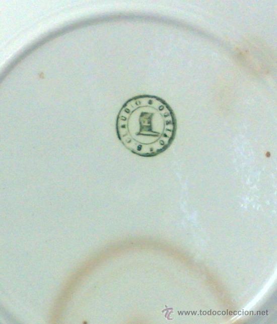 Antigüedades: SIGLO XIX-XX.- SAN CLAUDIO.- OVIEDO.- INTERESANTE PLATO EN PORCELANA. - Foto 15 - 37733911