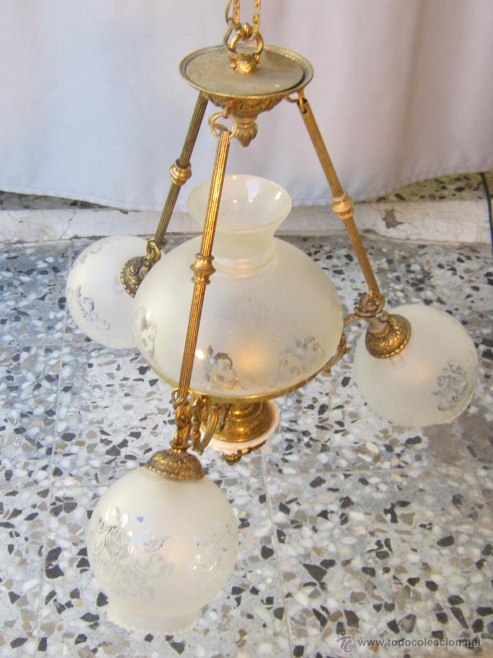 Antigüedades: LAMPARA DE TECHO EN BRONCE PORCELANA Y TULIPAS DE CRISTAL - Foto 6 - 40169975
