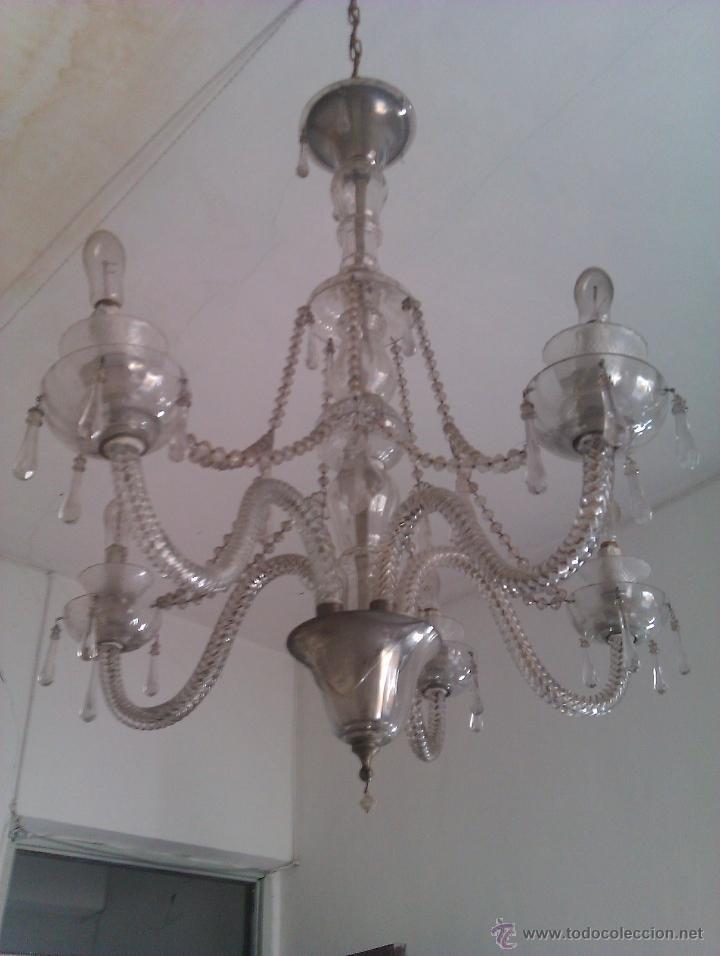 LÁMPARA DE CRISTAL ANTIGUA (Antigüedades - Iluminación - Lámparas Antiguas)