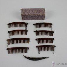 Oggetti Antichi: CONJUNTO DE 5 PEINETAS DOBLES IMITACION CAREY CON CLIPS. AÑOS 30.. Lote 127683532