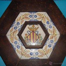 Antigüedades: AZULEJO ENMARCADO DEL ESCUDO DE VALENCIA, ENMARCADO ANTIGUO. Lote 40185083