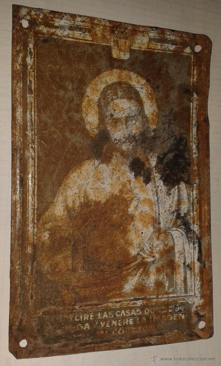 CHAPA METÁLICA RELIGIOSA, 15X10CM APROX. 1860 - 1870 (Antigüedades - Religiosas - Varios)
