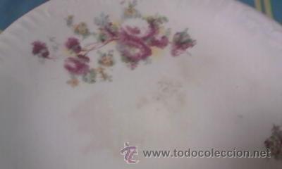 Antigüedades: Precioso y antiguo centro de mesa con pie alto decorado con flores. CARTUJA PICKMAN. - Foto 3 - 40240604