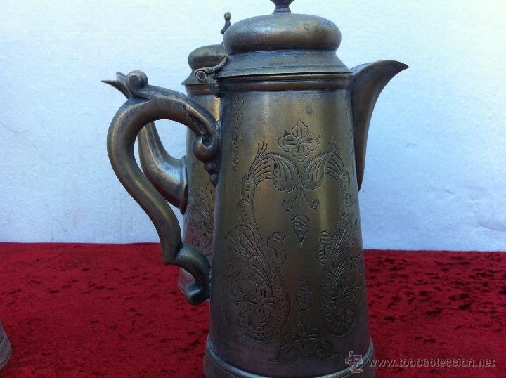 Antigüedades: JUEGO ANTIGUO DE TE Y CAFE EN METAL PLATEADO Y SELLADO E.P.N.S. - Foto 3 - 40244288