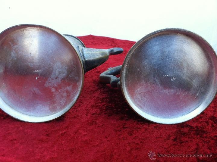 Antigüedades: JUEGO ANTIGUO DE TE Y CAFE EN METAL PLATEADO Y SELLADO E.P.N.S. - Foto 9 - 40244288