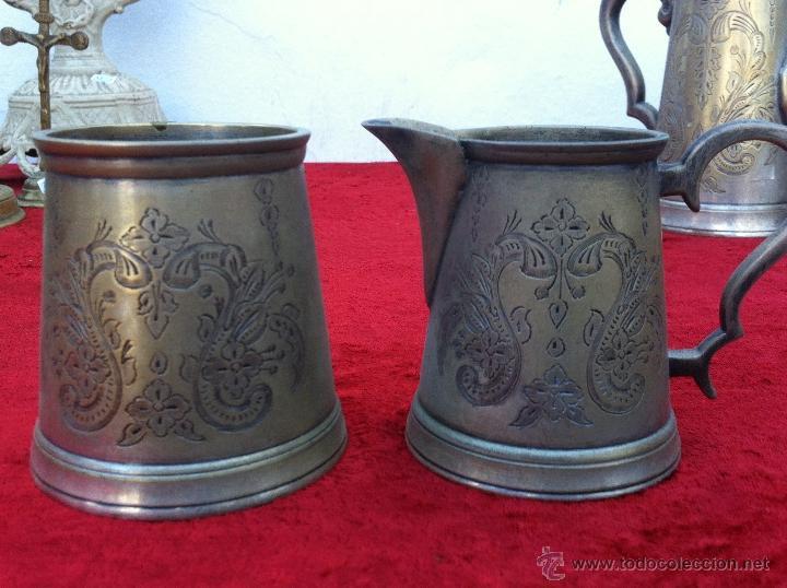 Antigüedades: JUEGO ANTIGUO DE TE Y CAFE EN METAL PLATEADO Y SELLADO E.P.N.S. - Foto 12 - 40244288