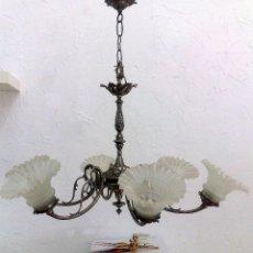 Antigüedades: ANTIGUA LAMPARA DE 6 BRAZOS EN METAL PLATEADO.. Lote 26425326