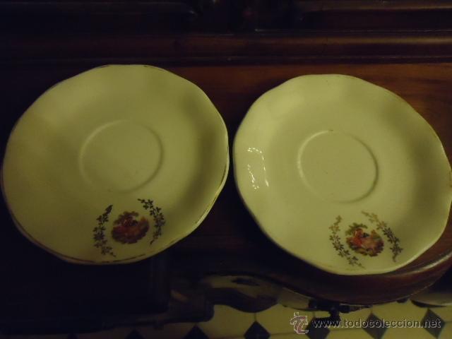 Antigüedades: lote 2 tazas y dos platos coleccion ceramica cartuja pickman , y sello - Foto 6 - 40258981