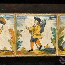Antigüedades: PLAFÓN CON 3 AZULEJOS D'ARTS Y OFICIS DEL SIGLO XVIII. Lote 40265993