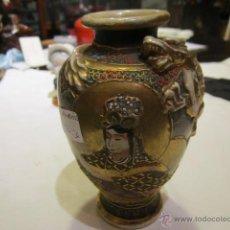 Antigüedades: JARRÓN DE PORCELANA JAPONÉS, CON MARCA O CREST DE LOS SHIMAZU, SATSUMA, ESMALTADO Y PINTADO A MANO.. Lote 40270720