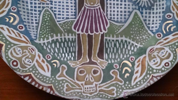 Antigüedades: Antiguo y curioso plato masonico de cristo y calavera de adán al pie de la cruz, Siglo XIX . - Foto 4 - 220413450