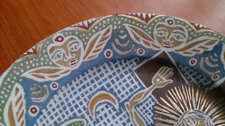 Antigüedades: Antiguo y curioso plato masonico de cristo y calavera de adán al pie de la cruz, Siglo XIX . - Foto 5 - 220413450