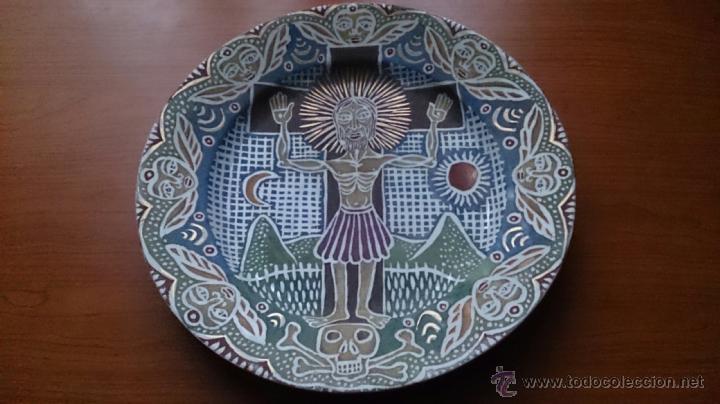 Antigüedades: Antiguo y curioso plato masonico de cristo y calavera de adán al pie de la cruz, Siglo XIX . - Foto 7 - 220413450