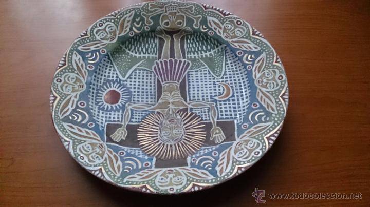 Antigüedades: Antiguo y curioso plato masonico de cristo y calavera de adán al pie de la cruz, Siglo XIX . - Foto 8 - 220413450