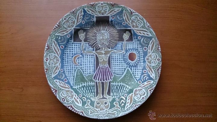Antigüedades: Antiguo y curioso plato masonico de cristo y calavera de adán al pie de la cruz, Siglo XIX . - Foto 9 - 220413450