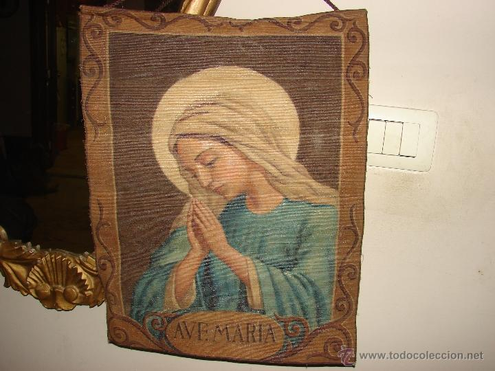ANTIGUO TAPIZ RELIGIOSO PINTADO A MANO (Antigüedades - Hogar y Decoración - Tapices Antiguos)