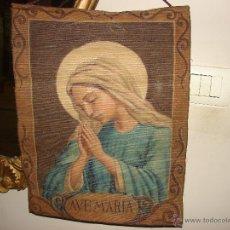 Antigüedades: ANTIGUO TAPIZ RELIGIOSO PINTADO A MANO. Lote 40310649