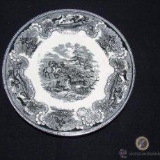 Antigüedades: PLATO DE CARTAGENA DE LA FÁBRICA DE LA AMISTAD, CON SELLO INCISO E IMPRESO, CAZA DEL CIERVO. Lote 40318647