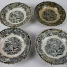 Antigüedades: LOTE DE CUATRO PLATOS SOPEROS EN LOZA FABRICA DE CARTAGENA,CON EL SELLO,FINALES S.XIX. Lote 40321532