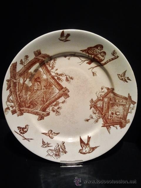 Antigüedades: Pareja de platos llanos de loza y sello inciso de Mariano Pola y Cia, Gijón. Finales s. XIX. - Foto 3 - 40330612