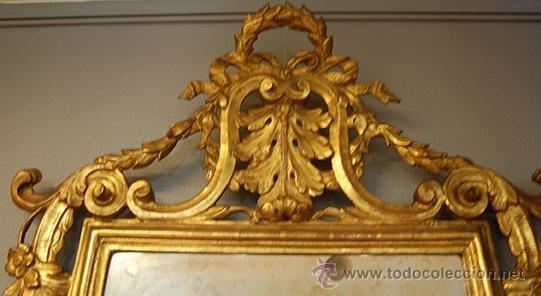 Antigüedades: Antiguo Espejo Barroco - Madera Tallada - Dorado en pan de Oro - Espejo Plateado - siglo XVIII - Foto 2 - 40376291