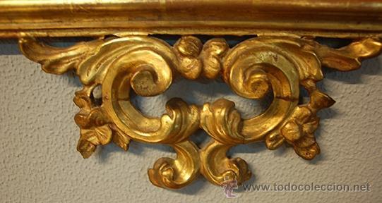 Antigüedades: Antiguo Espejo Barroco - Madera Tallada - Dorado en pan de Oro - Espejo Plateado - siglo XVIII - Foto 3 - 40376291