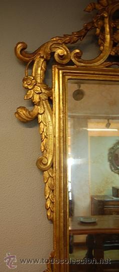 Antigüedades: Antiguo Espejo Barroco - Madera Tallada - Dorado en pan de Oro - Espejo Plateado - siglo XVIII - Foto 4 - 40376291