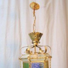 Antigüedades: LAMPARA DE TECHO EN METAL CON CRISTALES DE COLOR. Lote 40391120