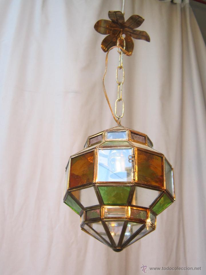 lampara de techo en laton con cristales de color antigedades iluminacin lmparas antiguas