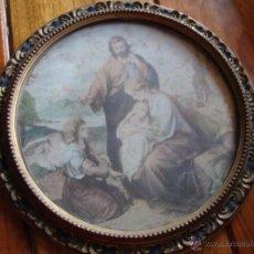 Antigüedades: MARCO ANTIGUO REDONDO DIBUJO RELIGIOSO NACIMIENTO JESUS. Lote 40396556